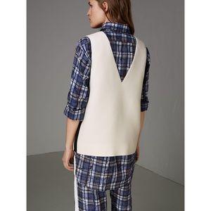 Burberry Satin Stripe Wool Silk Sleeveless Top